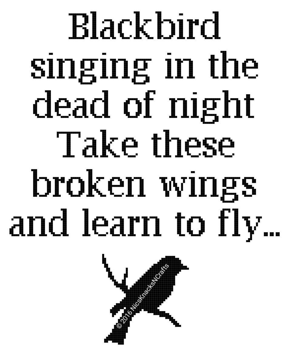 Blackbird Lyrics Cross Stitch Pattern