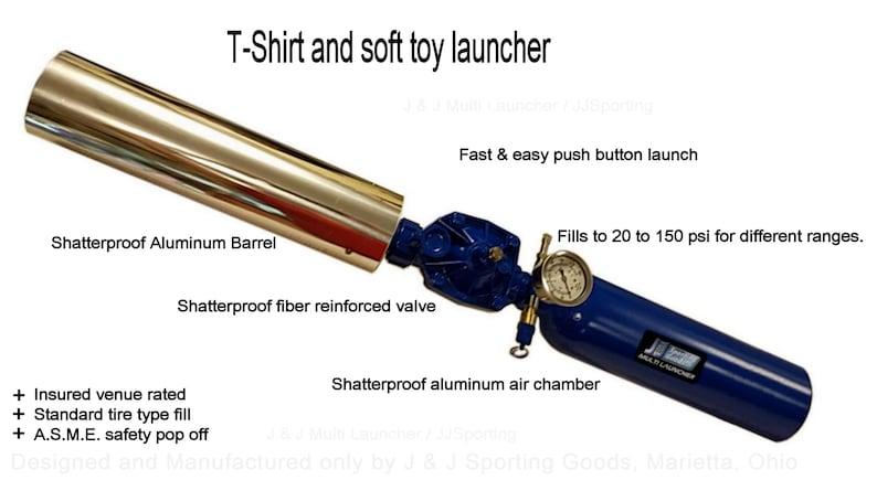 Tennis ball cannon & T-Shirt Launcher, 'Large' 68 CI Aluminum tank,  polished Aluminum barrel, Pneumatic, refillable, reusable!