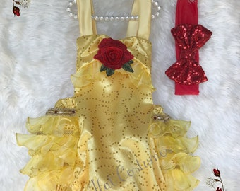 Belle costume - Baby Lace Romper - Cake smash outfit girl