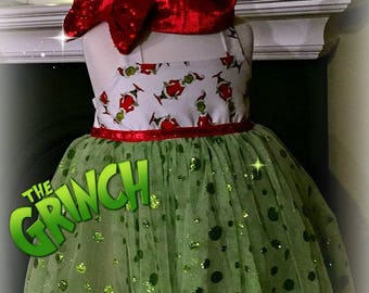 Grinch costume Grinch Baby Outfit Christmas Day Outfit Grinch outfit Xmas day outfit Green tulle dress Whoville Ugly Grinch costume & Grinch costume | Etsy