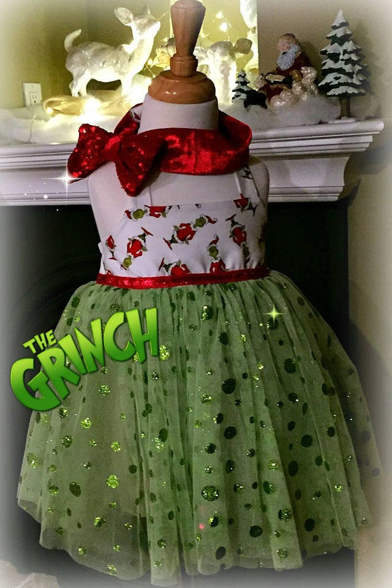 c5dc1294d687 The Grinch Christmas Dress baby girl Christmas Outfit. | Etsy