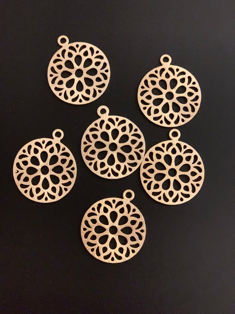 PENDENT   34mmX29 E-coated Gold Finish and  Silver Plated 6 PCs Brass Findings Brushed Finish