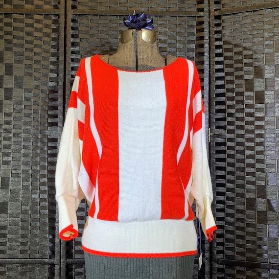 Vivanti Red/White Striped Batwing Sweater - Size 1