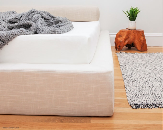 """Featured listing image: Modern Platform Bed Frame with Ultra Plush 5"""" thick sides  - a super cushioned, low profile bed frame - available only as a CUSTOM ORDER"""