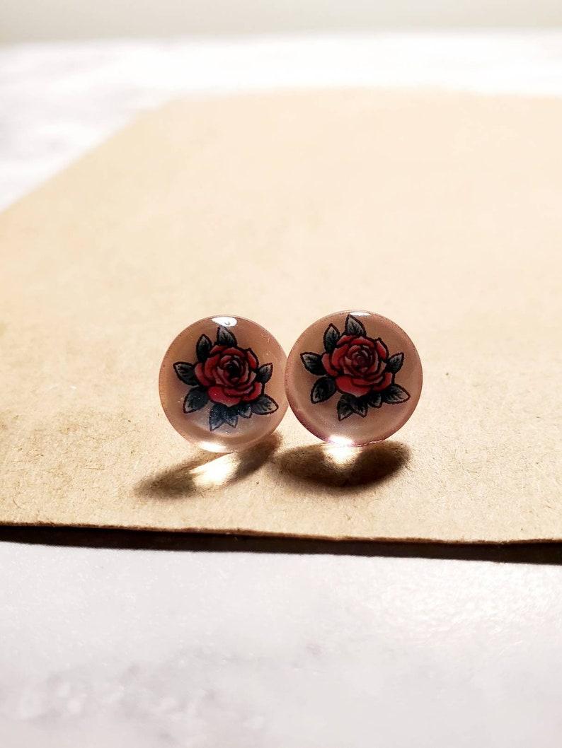Vintage rose glass stud earrings stainless steel