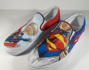 5005305be44064 Custom SuperMan Painted Shoes