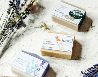 3 soaps and/or lip balm set, vegan, natural, organic, made in quebec, palm oil free, cruelty free