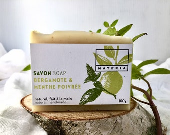 Bergamot and peppermint soap, organic, vegan soap, exfoliating soap, cruelty free, palm oil free
