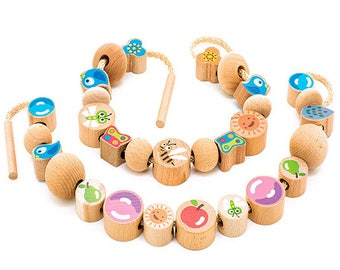 Wooden lacing toy - Learning Toy - Montessori toddler toy - Toddler birthday gift - Wooden toy - Educational toy