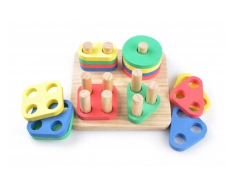 Sorter Geometry  - Learning Toy - Montessori toddler toy - Toddler birthday gift - Wooden toy - Educational toy
