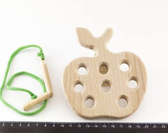 Wooden apple - Wooden lacing toy - Learning Toy - Montessori toddler toy - Toddler birthday gift - Wooden toy - Educational toy