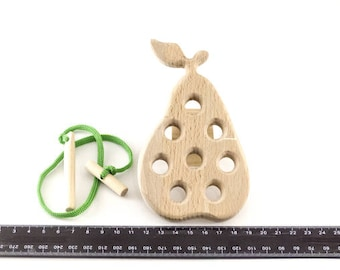 Wooden pear - Wooden lacing toy - Learning Toy - Montessori toddler toy - Toddler birthday gift - Wooden toy - Educational toy