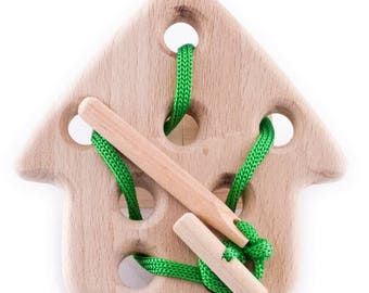 Wooden house -  Wooden lacing toy - Learning Toy - Montessori toddler toy - Toddler birthday gift - Wooden toy - Educational toy