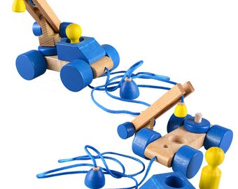 Blue car on a string - Learning Toy - Montessori toddler toy - Toddler birthday gift - Wooden toy - Educational toy