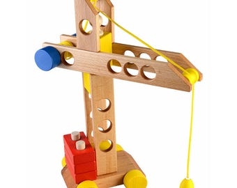 Lifting crane - Learning Toy - Montessori toddler toy - Toddler birthday gift - Wooden toy - Educational toy