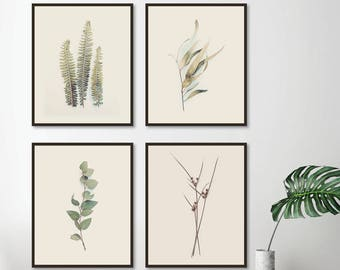 4 Downloadable Botanical Prints, Botanical Print Set, Printable Art, Botanical Set 4, Set of 4 Prints, Print Set, Ferns, Leaves, Australian