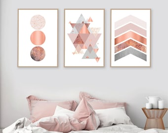 Printable art, Downloadable prints, Set of 3 Prints, Wall Decor, Scandinavian, Blush pink, Copper, Rose Gold, Poster, Wall art, Trending Now