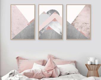 Printable art Downloadable prints Set of 3 Mountains Blush Pink Grey Scandinavian Modern Contemporary Poster Wall decor Triptych Trending