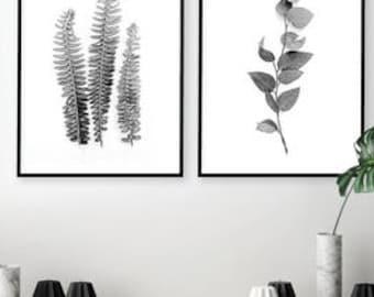 Leaves Print Leaf Prints Nature Prints b/&w Nature Wall Art Botanical Print Set of 3 Set of 3 Watercolor black and white Fern Print Set