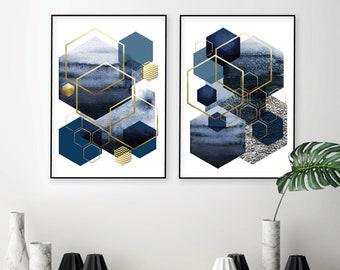 Downloadable prints set of 2, Geometric wall art, Navy blue gold, Matching hexagon printable art, Modern digital downloads, Indigo blue gold