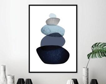 Downloadable Print, Printable art, Pebbles, Balancing Stones, Minimalist, Scandinavian, Navy Blue, Poster, Prints, Wall Art, Art, Wall Decor