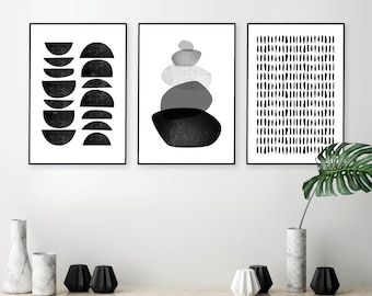Instant Download Printable Art Set Of 3 Prints Black And White Art Minimalist Poster Scandinavian Prints Scandi Wall Art Wall Decor