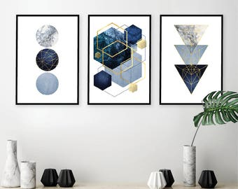 0a5c037e6 Set of 3 downloadable geometric abstract prints Printable wall art set  Triptych in navy dark blue gold wall decor Digital art trending now
