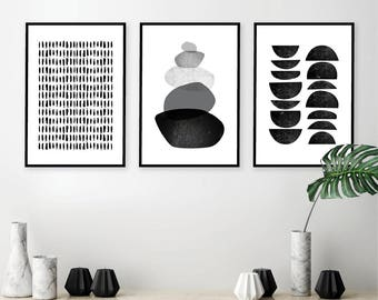 Instant Download, Printable Art, Set Of 3 Prints, Black And White Art,  Minimalist Poster, Scandinavian Prints, Scandi Wall Art, Wall Decor