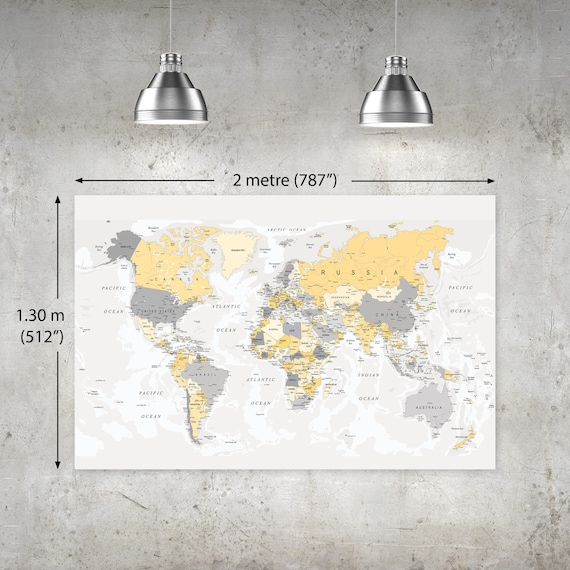 extra large downloadable yellow grey world map wall poster xl etsy