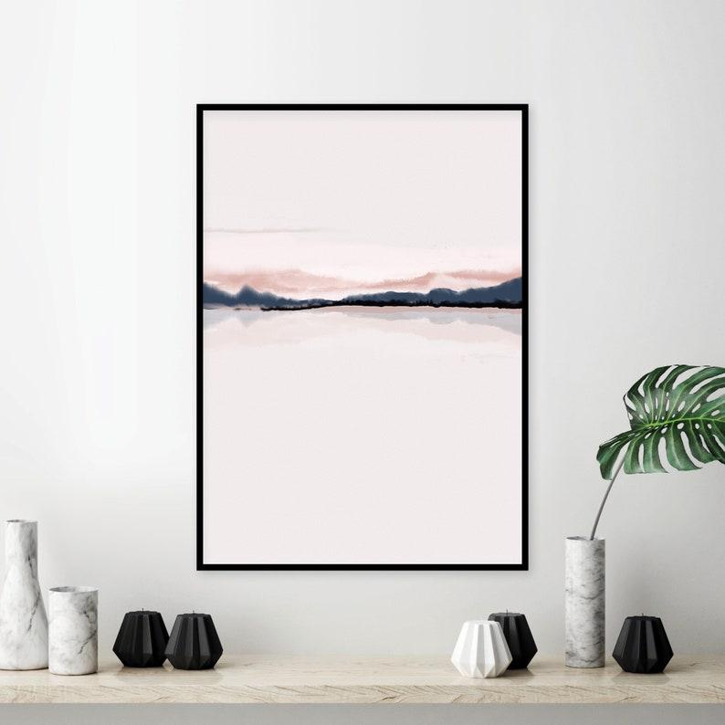Horizon Blush Pink Navy Blue Printable Art Downloadable Etsy