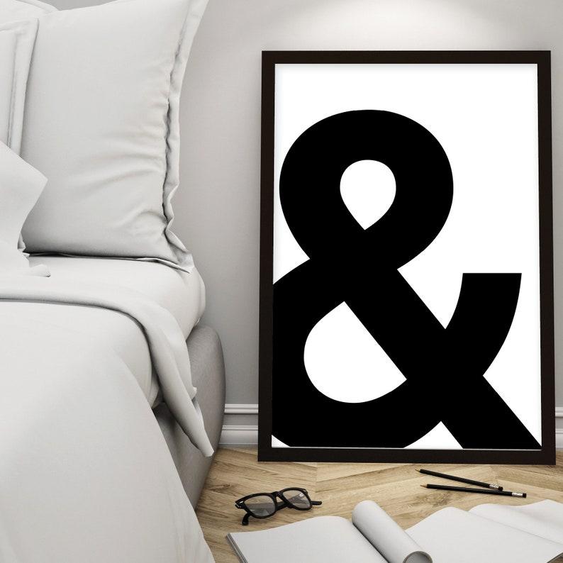 Minimalist Poster Art Printable Art Poster Black and White Scandinavian Print Wall Art Downloadable Typography Ampersand Print