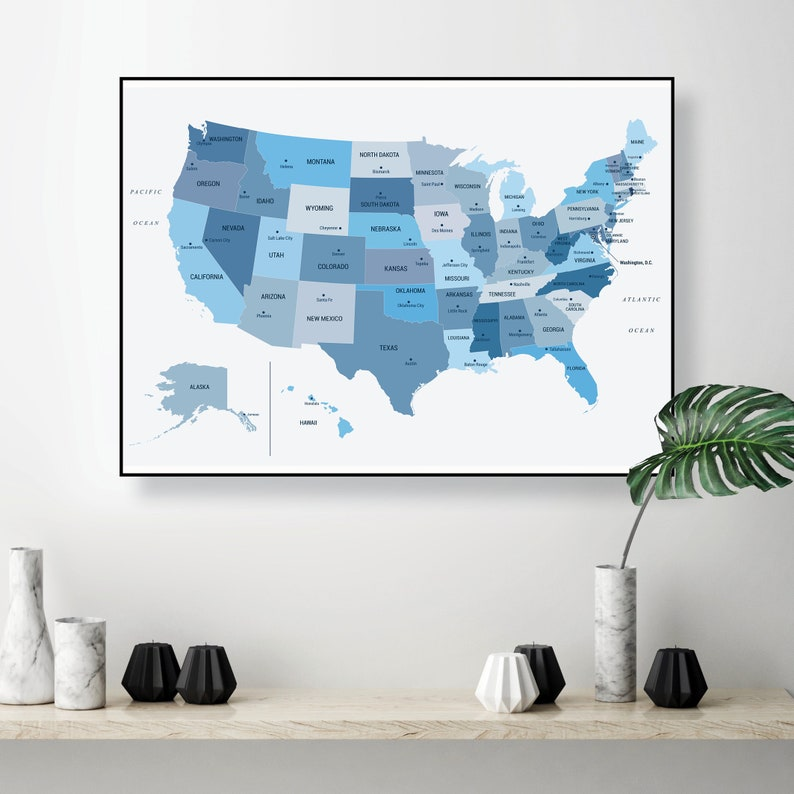 USA wall map digital download in blue Large US map printable poster Digital  print blue grey United States map dorm study office decor A0