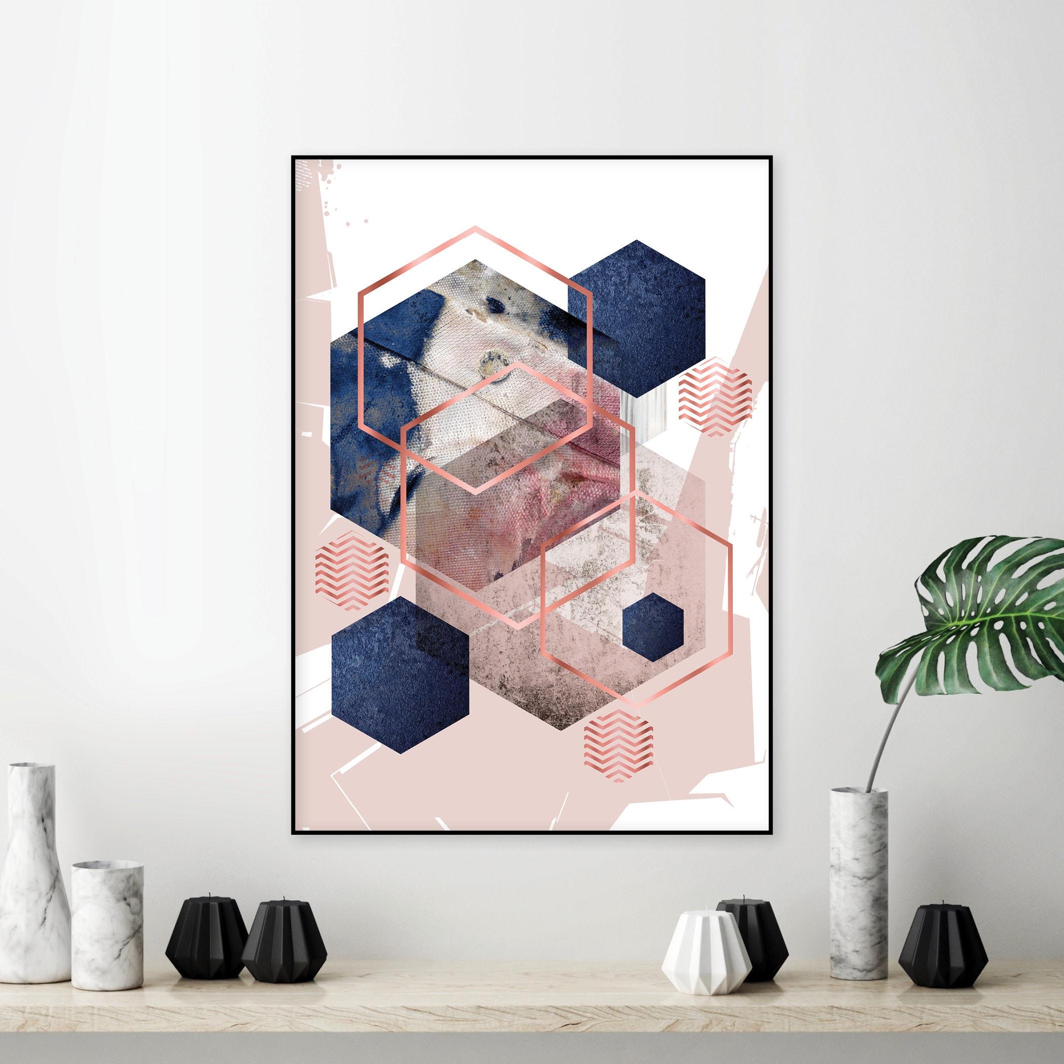 Geometric Poster Minimalist Poster Scandinavian Print Download Scandinavian Geometric Geometric Art Blush Rose Gold Scandinavian Art
