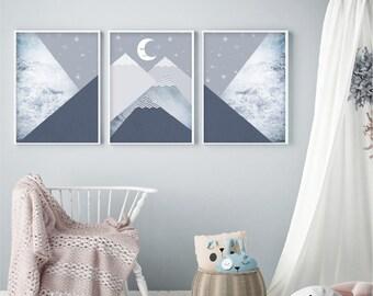 Set of 3 Scandi downloads Nursery mountain prints navy blue white Scandinavian mountains wall art Nursery printable posters Nursery decor