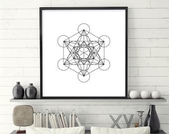 Black and White Art, Minimalist Poster, Sacred Geometry, Zen, Yoga, Prints, Art, Minimalist, Scandinavian, Metatron's Cube, Instant Download