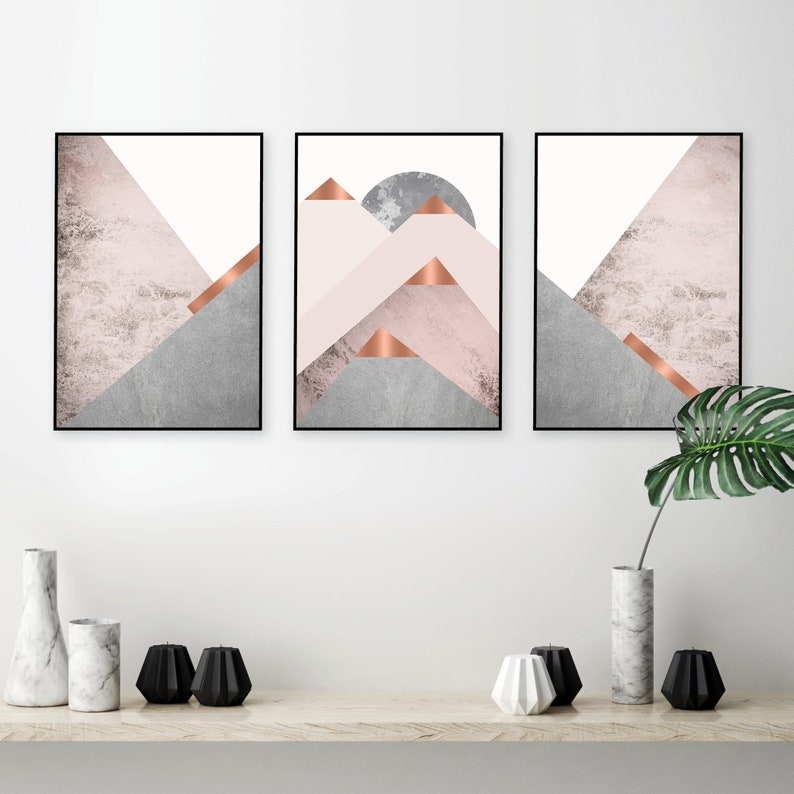Downloadable Blush Pink Grey And Copper Scandinavian Mountains Etsy