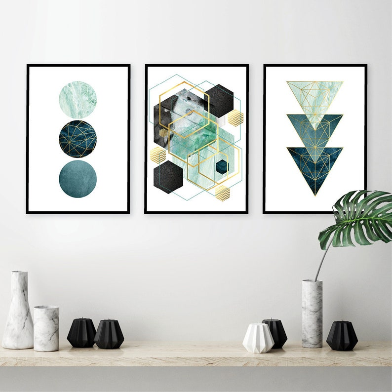 picture relating to Etsy Printable Wall Art identify Downloadable prints Teal wall artwork Printable wall artwork fastened Gold geometric print down load teal gold wall artwork wall prints fixed of 3 matching trio
