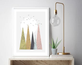 Downloadable Mountain Print, Printable Art, Mid-Century, Mountain Print, Retro, Scandinavian, Minimalist, Modern, Print, Wall Art, Poster