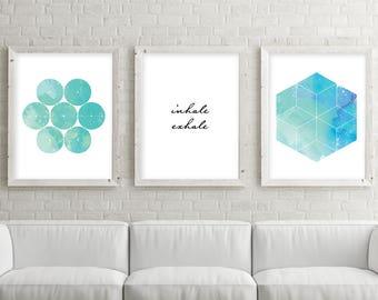 Inhale Exhale, Set of 3 Prints, Print Set, Yoga print set, Sacred Geometry, Zen art, Boho art, Yoga art, Downloadable Prints, Printable Art