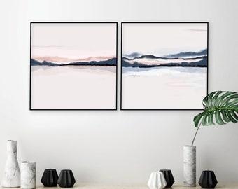 Digital download, set of 2, Horizon printable art, Minimalist poster, Square, Abstract art, Watercolor printable, blush pink navy wall art