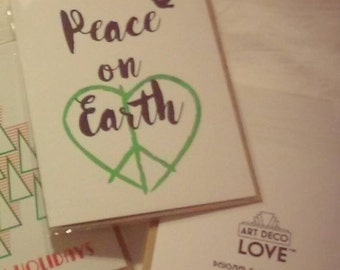 Peace on Earth Hand-printed Holiday Card