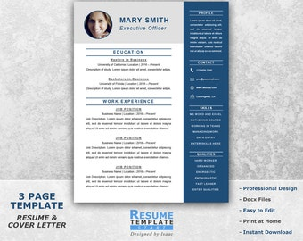 Marvelous Executive Resume Template Word   Professional Resume Template For Word    Resume Cover Letter Template   CV Templates T11