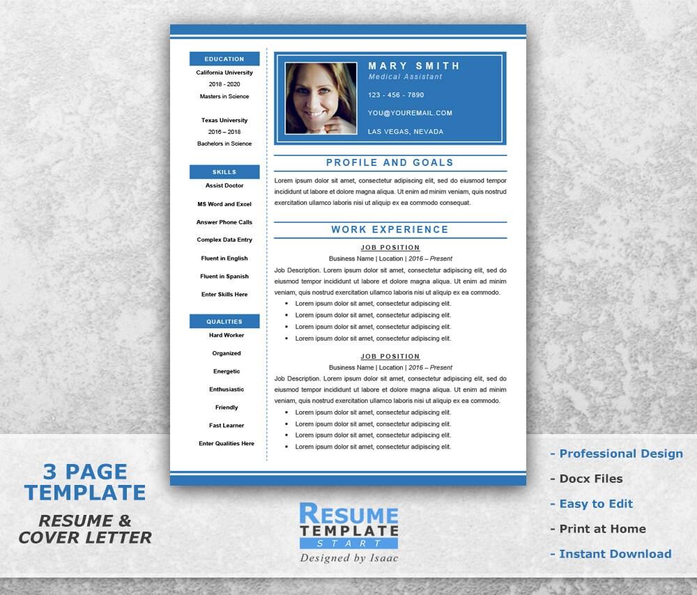 Curriculum Vitae médico Plantilla Word médico asistente | Etsy