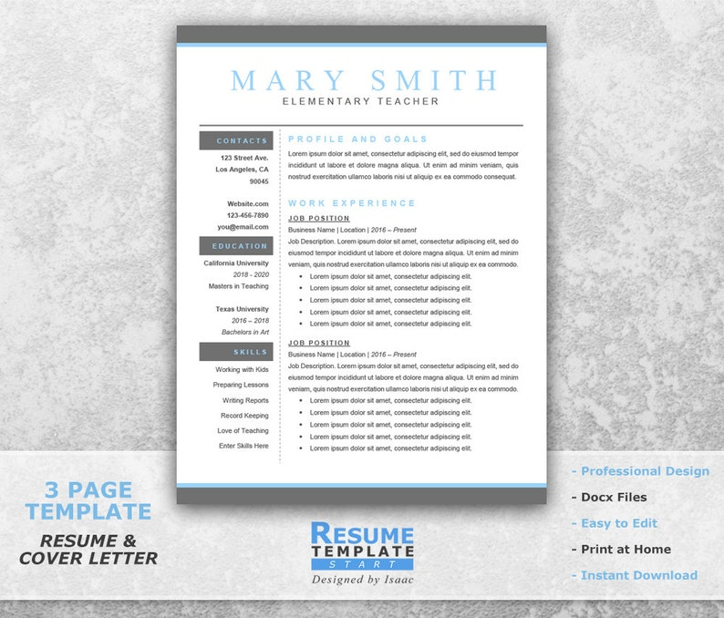 Teacher Resume Template Word Professional Resume Template Etsy