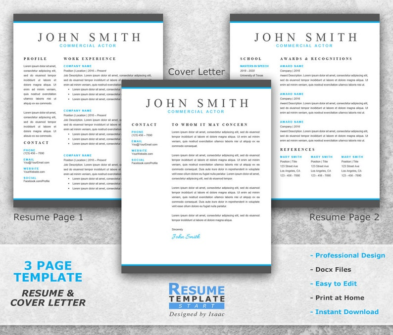 Resume Cover Letter Template Professional Resume Template for Word CV Templates T13 Actor Resume Template Word