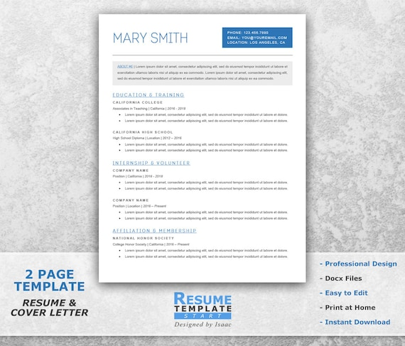 Student Resume Template Word Academic Resume Template For Etsy
