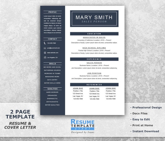 One Page Resume Template Word Resume Cover Letter Templates | Etsy