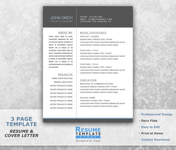 Resume Templates Word Project Manager Resume Template Word | Etsy