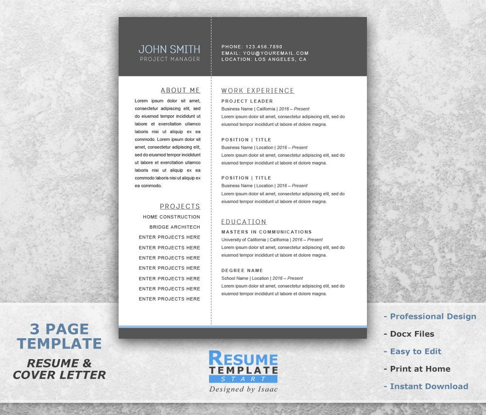resume templates word project manager resume template word
