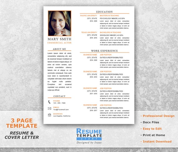 acting resume template word resume design template for word etsy